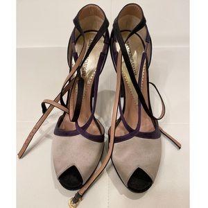 EMPORIO ARMANI Satin Bicolored Heels Sz 40